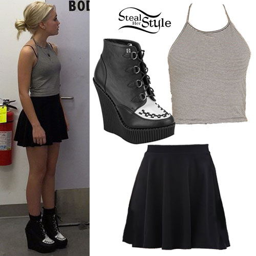 Bea Miller: Black & White Creeper Boots
