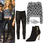 Bella Thorne: Gray Heart Print Sweater