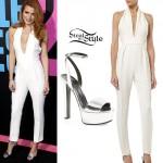 Bella Thorne: White Jumpsuit, Silver Sandals