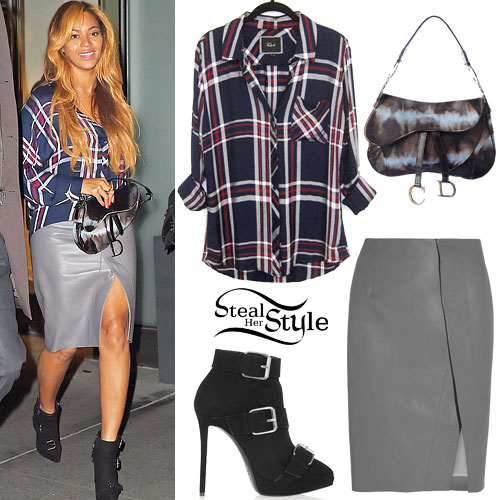 Beyonce: Plaid Shirt, Leather Skirt