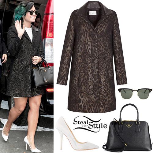 Demi Lovato: Leopard Coat Outfit