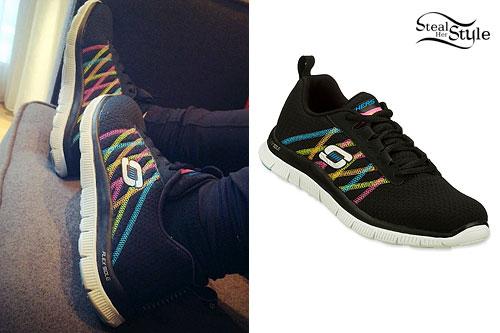 Demi Lovato: Black & Rainbow Sneakers