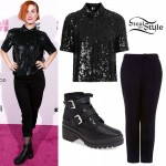 Hayley Williams: Sequin Top, Buckle Boots