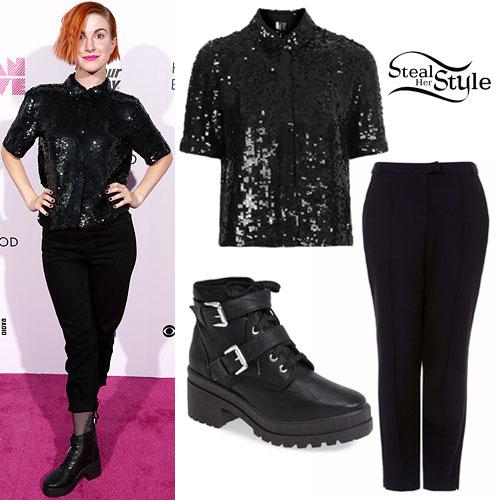 Hayley Williams: Sequin Top, Buckle Boots