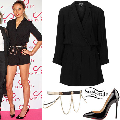 Jess Plummer: Wrap Playsuit, Black Pumps