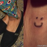 Kesha smiley face foot tattoo
