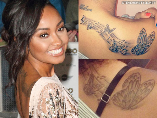 Leigh-Anne Pinnock butterfly back tattoo