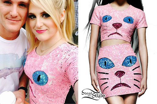 Meghan Trainor: Pink Sequin Cat Crop Top & Skirt