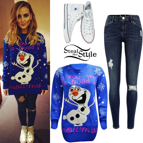 perrie edwards frozen jumper ripped jeans steal her style