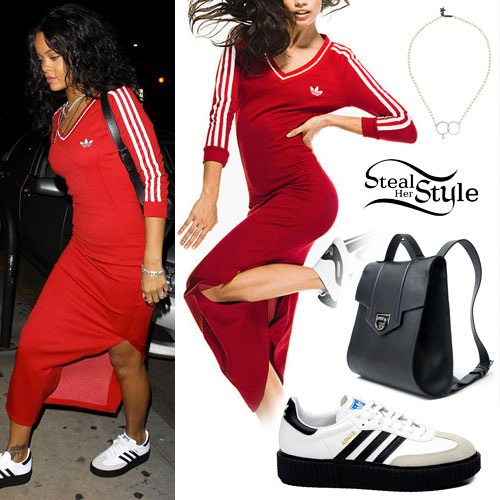 Rihanna: Red Dress, Leather Backpack