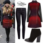 Sabrina Carpenter: Red Wool & Leather Coat