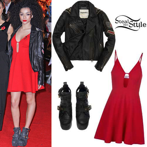 Shereen Cutkelvin: Red Dress, Leather Jacket