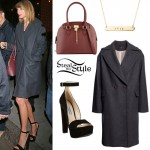 Taylor Swift: Wool Coat, Ankle Strap Sandals