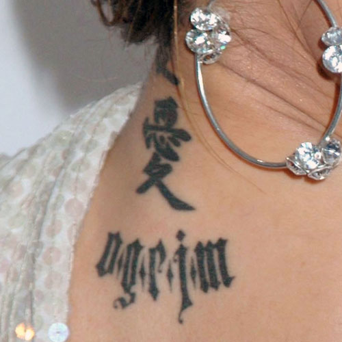 Tila Tequila Chinese Writing Neck Upper Back Tattoo Steal Her Style