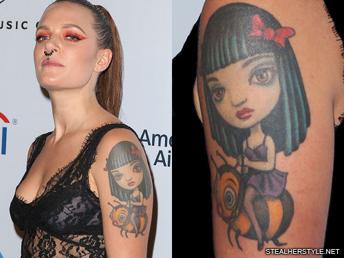 Tove Lo Bee Portrait Upper Arm Tattoo Steal Her Style