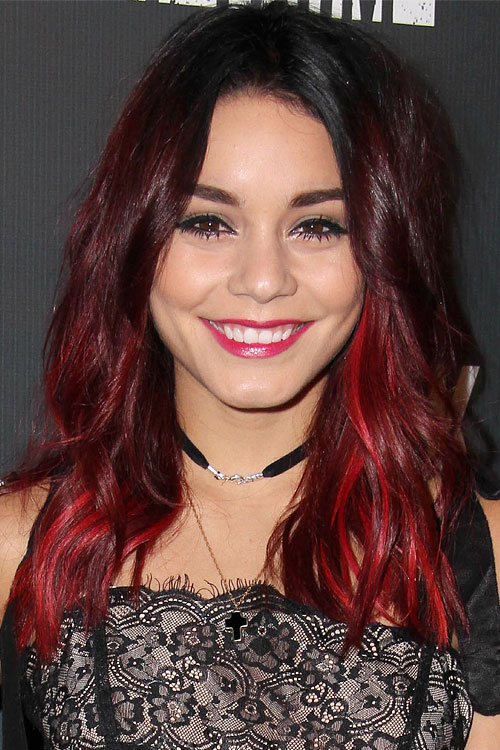 Vanessa Hudgens Wavy Burgundy Dark Roots Peek A Boo