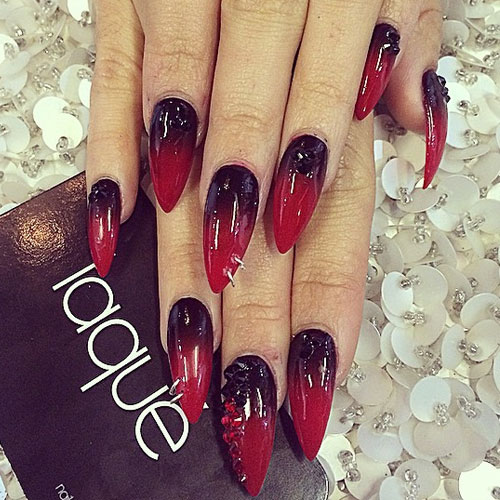 Red And Black Ombre Nails Nails Black Red Ombre