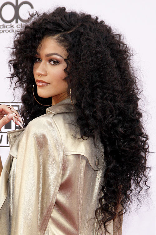 Zendaya Curly Black Angled Extensions Hairstyle Steal Her Style