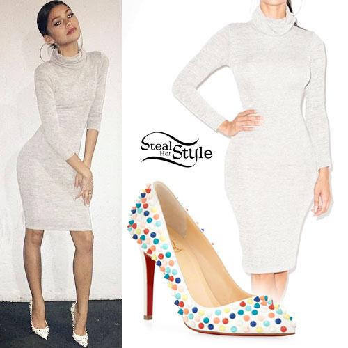 Zendaya: Gray Long Sleeve Dress, Spike Heels