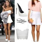Ariana Grande: Lace Bralet, Peplum Skirt