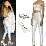 Ariana Grande: White Pants & Bralet Outfit