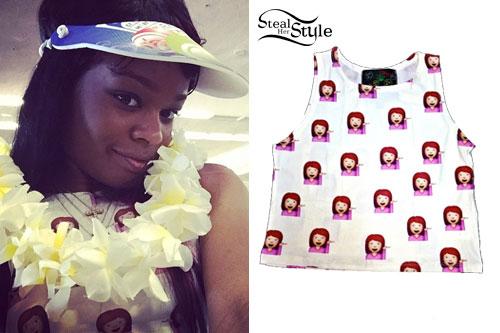 Azealia Banks: Emoji Print Crop Top