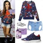 Becky G: Blue Roses Hoodie & Sneakers