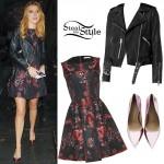 Bella Thorne: Floral Dress, Leather Jacket