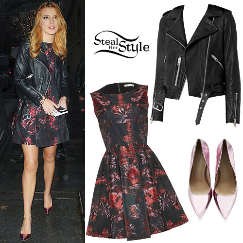 Bella Thorne: Floral Dress, Leather Jacket