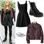 Bella Thorne: Maroon Biker Jacket, Box Pleat Dress