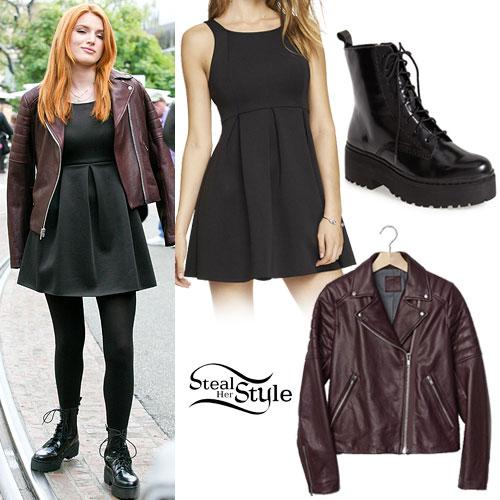 Bella Thorne: Oxblood Biker Jacket, Pleat Dress