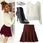 Bella Thorne: Fuzzy Sweater, Houndstooth Skirt