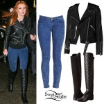 Bella Thorne: Acid Jeans, Quilted Knee Boots