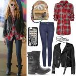 Bella Thorne: Red Plaid Shirt, Biker Jacket