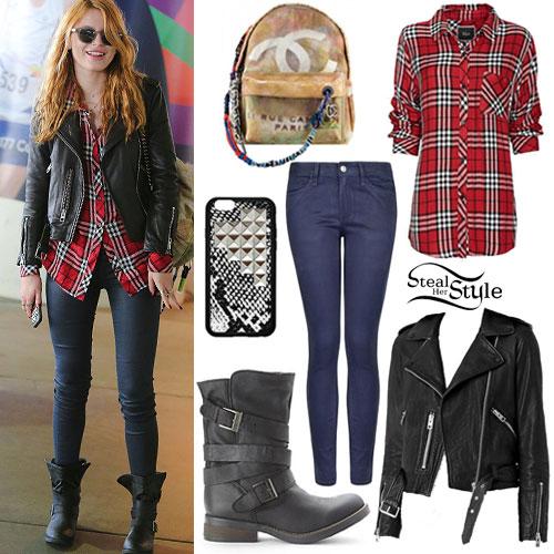 c572eea7 Bella Thorne: Red Plaid Shirt, Biker Jacket