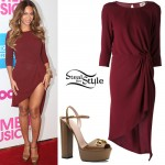 Beyoncé: Draped Dress, Brown Platforms
