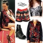 Christina Grimmie: Floral Biker Jacket Outfit
