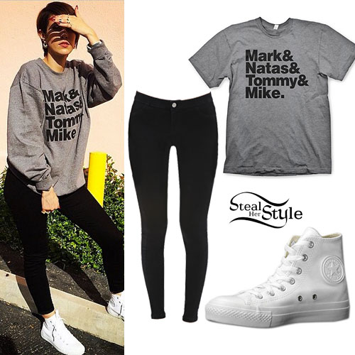 DEV: Names Crewneck, White Leather Converse