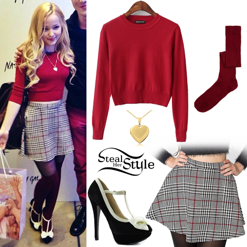 Dove Cameron: Crop Sweater Checked Skirt Steal Her Style
