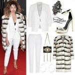 Ella Eyre: Striped Fur Coat, White Suit
