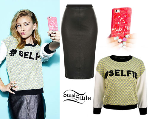 G Hannelius: Selfie Sweater, Leather Skirt