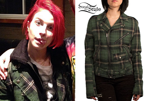 Hayley Williams: Green Plaid Biker Jacket
