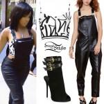 K Michelle: Graffiti Top, Leather Overalls