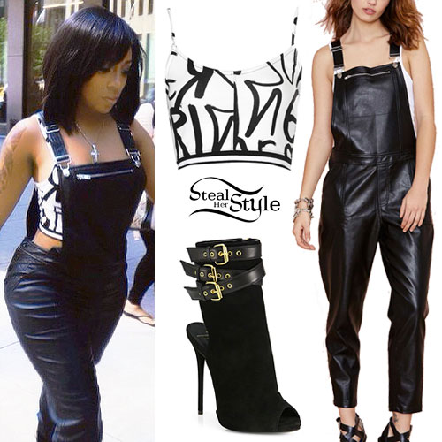 K Michelle: Graffiti Top, Leather Overalls