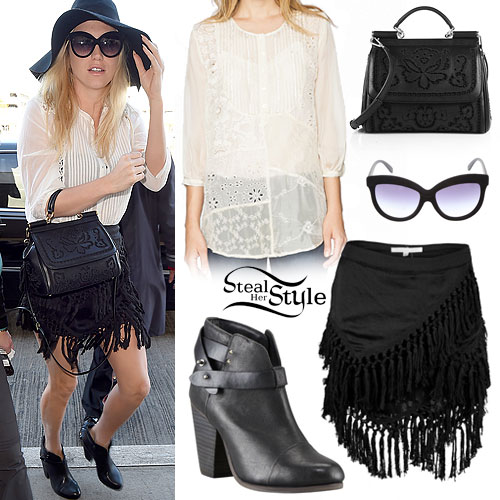 Kesha: Pintuck Top, Fringe Skirt