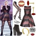 Meghan Trainor: Bronze & Black Striped Dress