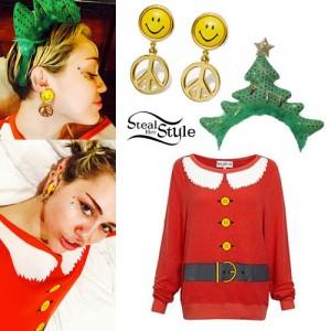 Miley Cyrus: Santa Sweater, Smiley Earrings