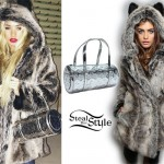 Pia Mia Perez: Fur Hooded Coat, Silver Bag