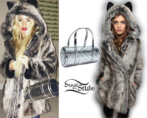 Pia Mia Perez: Fur Hooded Coat, Silver Bag