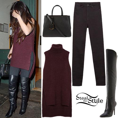 Selena Gomez: Turtleneck Vest, Black Jeans